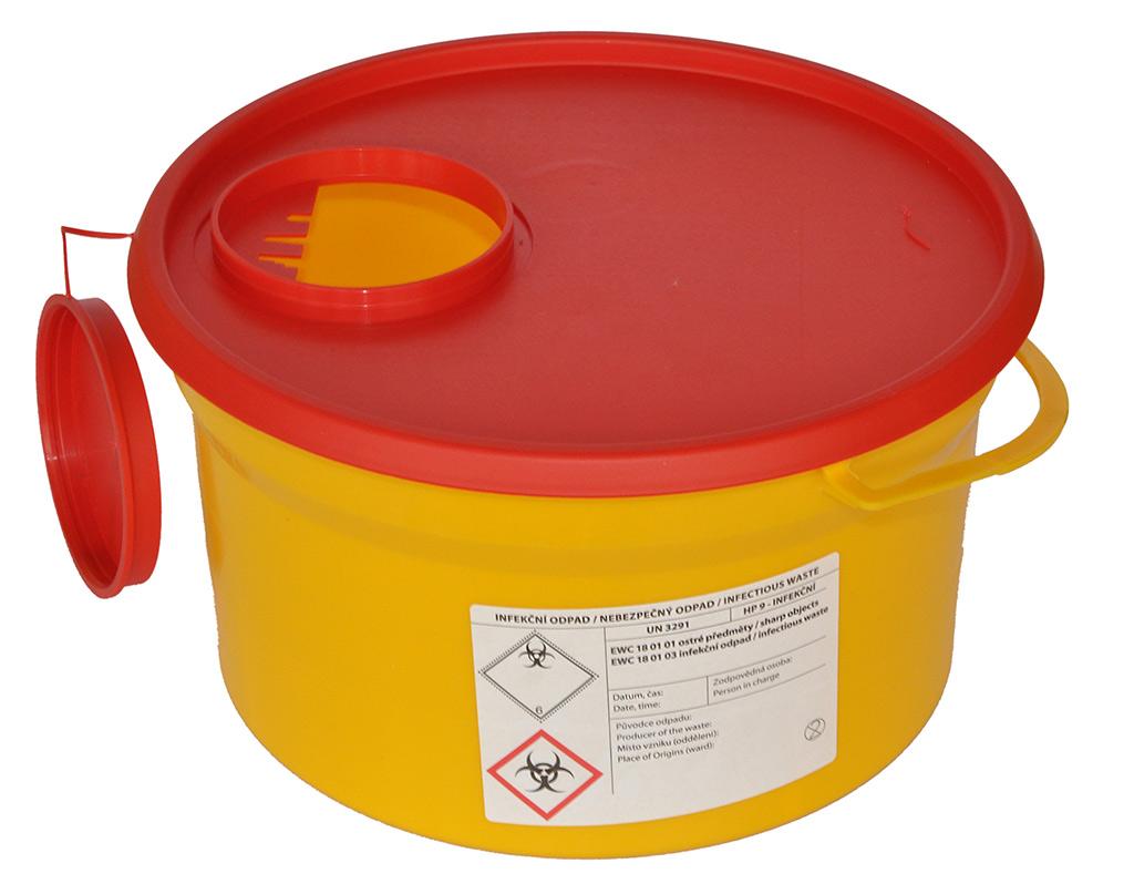 KRÁSNÝ-zdravotnická technika s.r.o. BIOHAZARD - NÁDOBA NA KONTAMINOVANÝ ODPAD 5 litrů