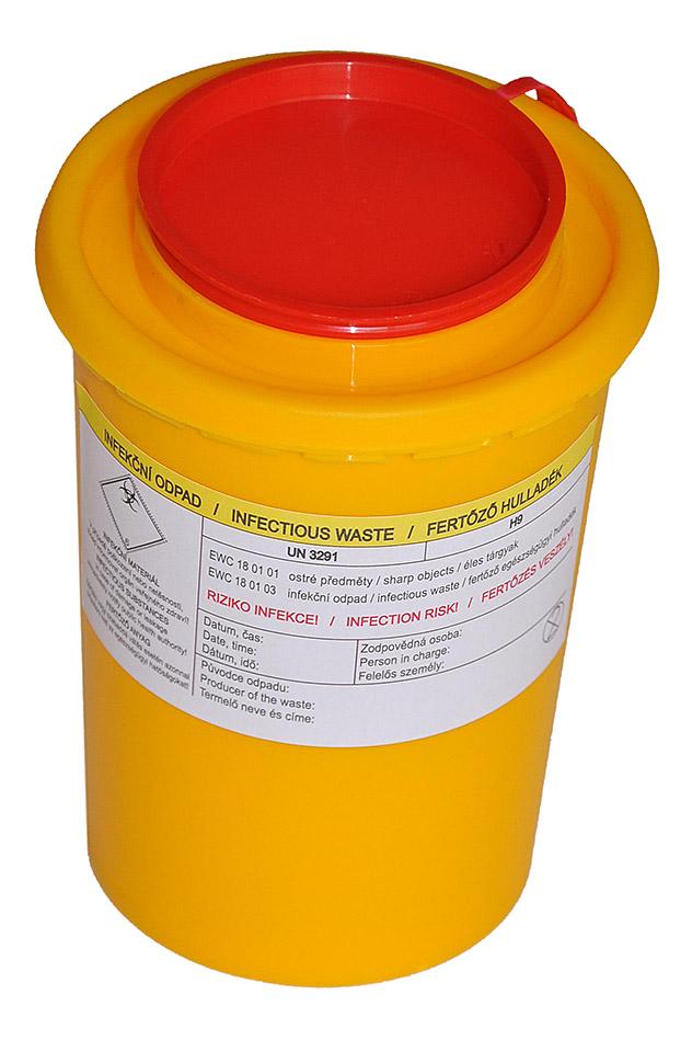 BIOHAZARD - NÁDOBA NA POUŽITÉ JEHLY 0,5 litru